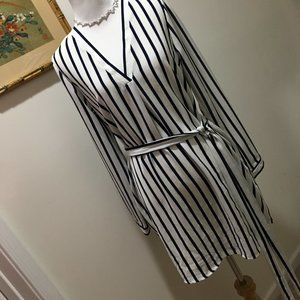 F21 Black and White Striped Shirt Dress